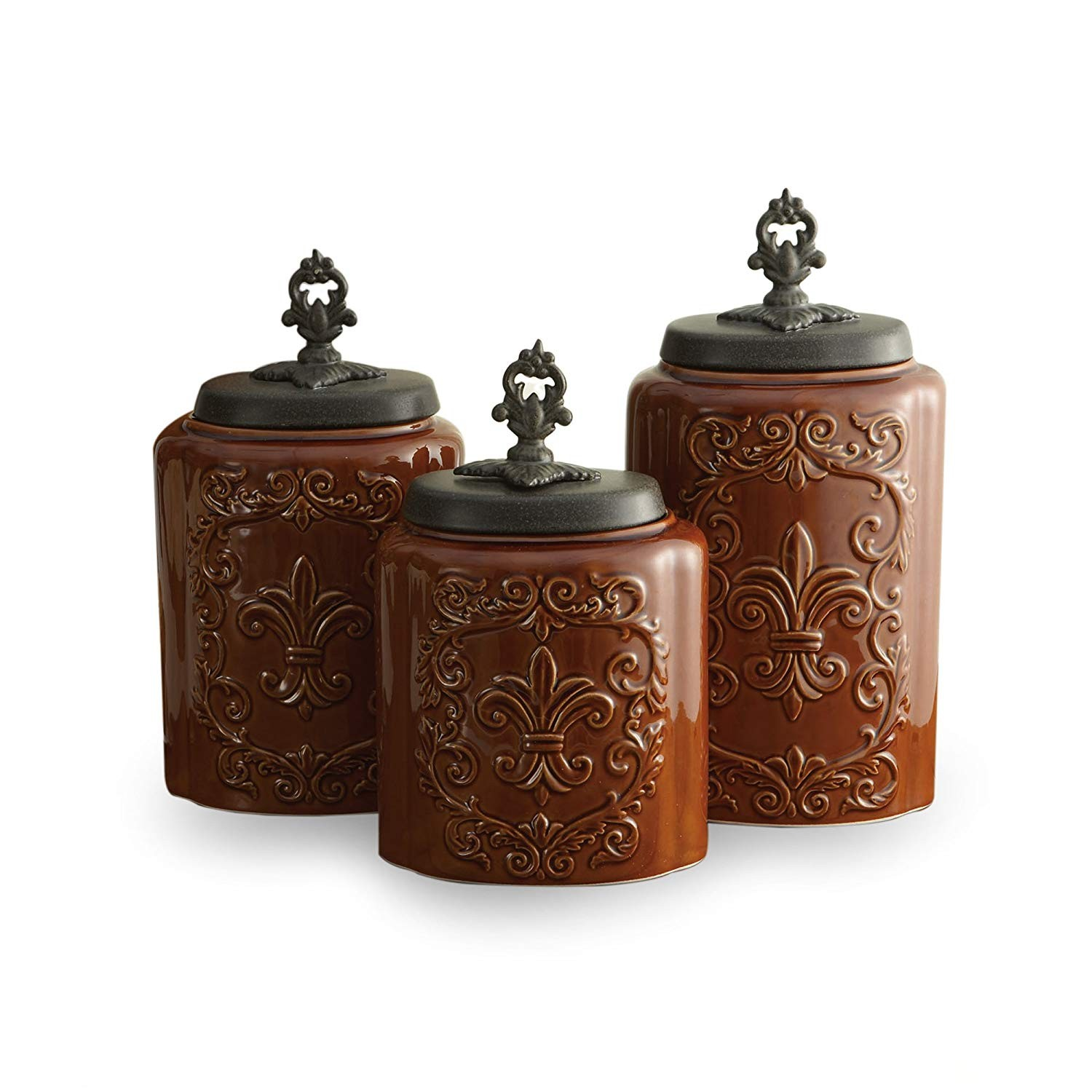 American Atelier Canisters, Brown Antique, Set of 3