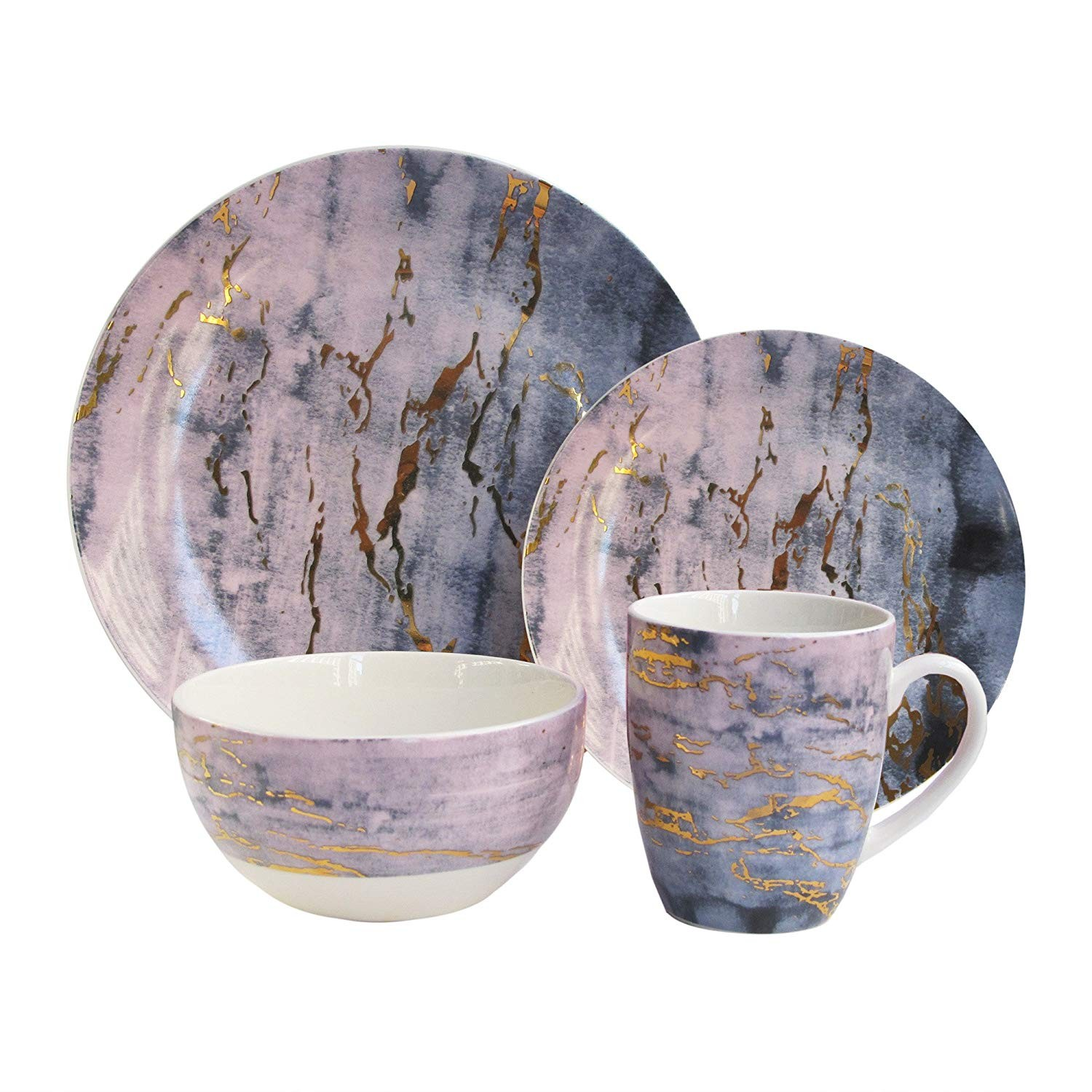 "American Atelier 7018-16-RB Marble Dinnerware Set, 10.5"" x 10.5"", Purple/Gold"