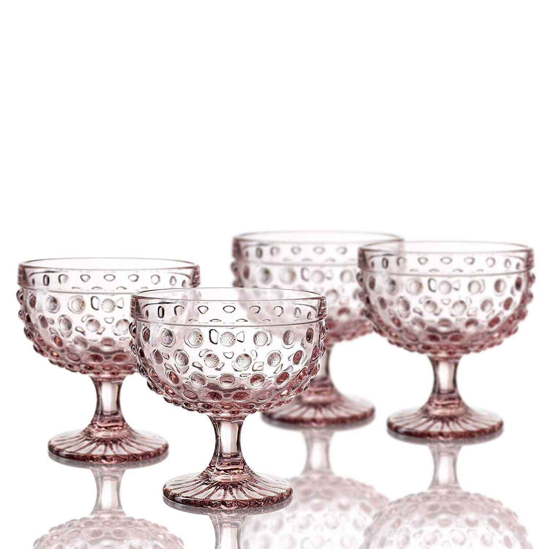 """Elle Decor 229804-4PBPU Bistro Dot Pedestal Bowls (Set of 4), 4.3"""" x 4.3"""", Pink"""