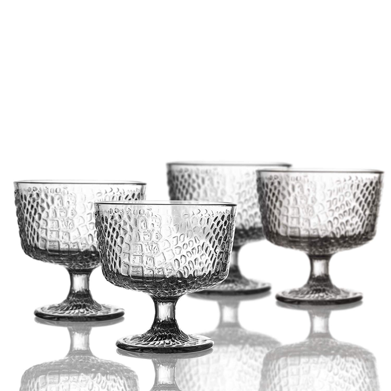 """Elle Decor Bistro Croc Pedestal Bowls, Clear, 4.3"""" x 4.3"""""""