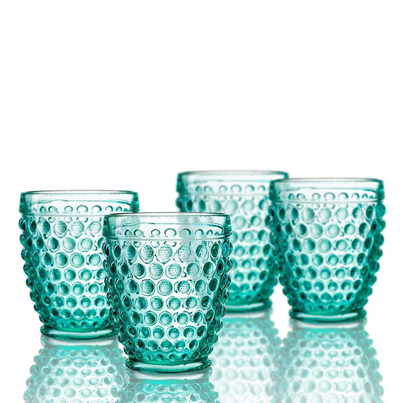 Elle Decor 229804-4OFGR Bistro Dot 4 Pc Set Old Fashion, Green-Glass Elegant Barware and Drinkware, Dishwasher Safe, 10 Oz