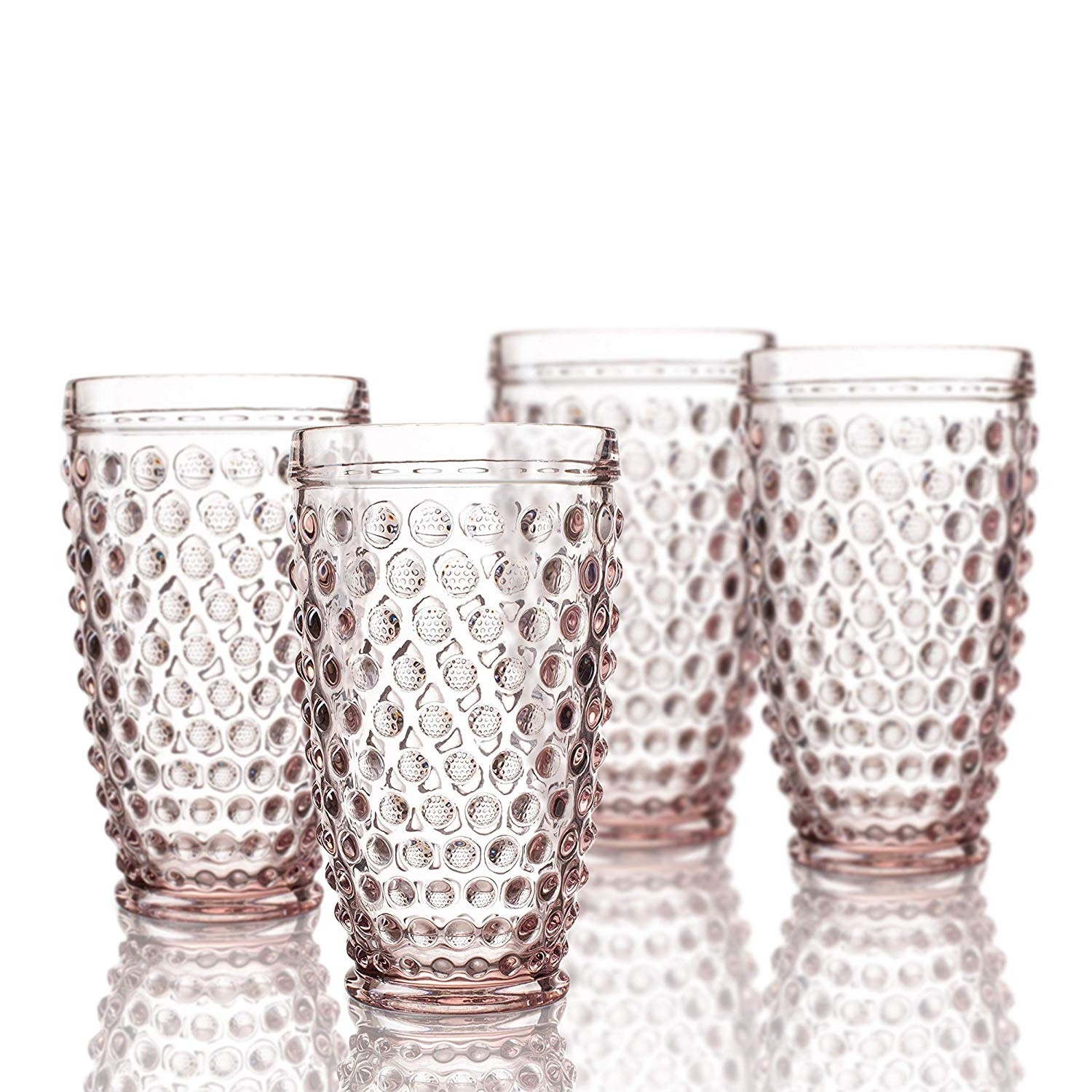 Elle Decor  229804-HBPU Bistro Dot  4 Pc Set Highball Glasses, Pink-Glass Elegant Barware and Drinkware, Dishwasher Safe 13.5 Oz Pink