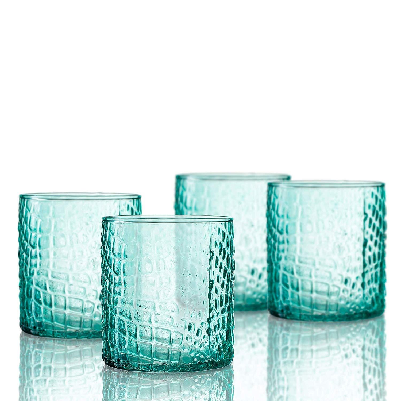 Elle Decor  229805-4OFGR Bistro Croc  4 Pc Set Old Fashion Glasses, Green-Glass Elegant Barware and Drinkware, Dishwasher Safe 12.8 Oz Green