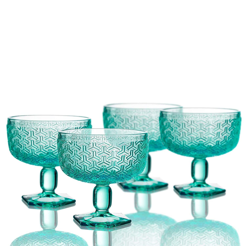 """Elle Decor 229806-4PBGR Bistro Key Pedestal Bowls, Green, 4.3"""" x 4.3"""""""