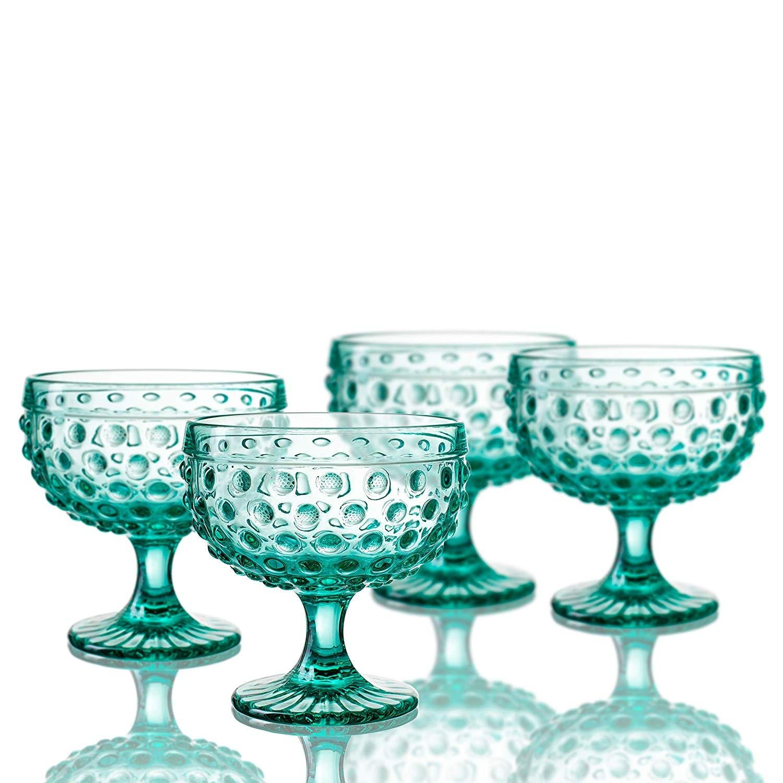Elle Decor 29804-4PBGR Bistro Dot - Pedestal Bowls, Green, 4.3 x 4.3