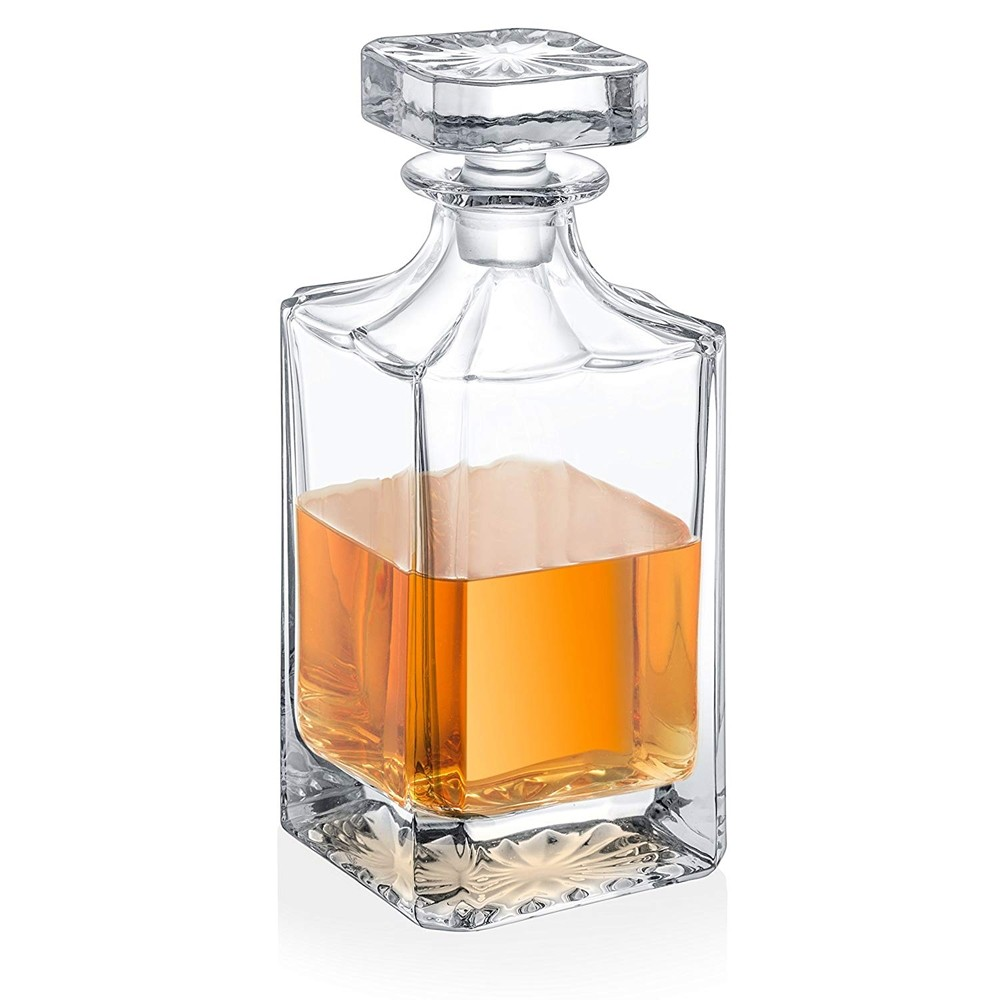 Fifth Avenue Lawrence Square Crystal Elegant Beautiful Decorative Whiskey Decanter with Ornate Top Lead Free Glass for Wine, Bourbon, Brandy, Liquor and Water – Makes For an Ideal Gift