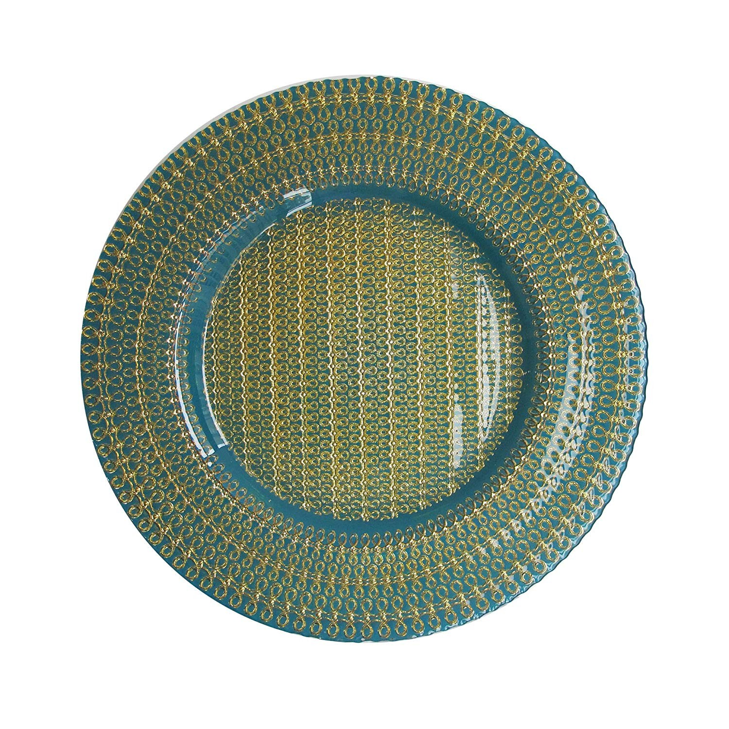 ChargeIt by Jay Celia Glass Charger Plate, Aqua/Gold