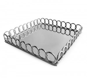 American Atelier Square Mirror Looped Tray