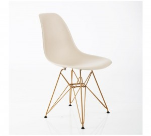Design Guild Banks Beige Chair with Gold Legs