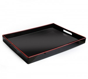 American Atelier Rectangular Tray with Handles in Black