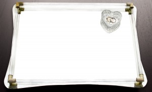 """American Atelier Curved Mirror Vanity Tray with Gold Accents-12x16"""""""