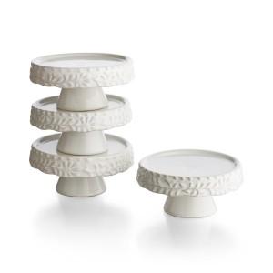American Atelier Bianca Leaf Cupcake Pedestal Plates, Set of 4