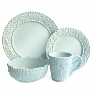 American Atelier Bianca Leaf Blue Mist 16 Piece Dinnerware Set