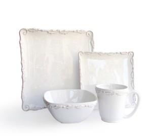 American Atelier Bianca Wave White 16 Piece Dinnerware Set