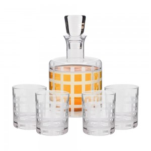 Style Setter 5 Piece Elegant Decorative Whiskey Decanter Set Ornate Top Lead Free Glass with 4 Glasses