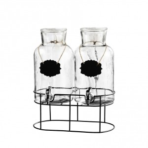 Style Setter Sierra Chalkboard Set of 2 Beverage Dispensers with Stand