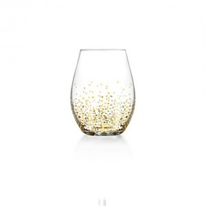 Fitz & Floyd Gold Luster Set of 4 Stemless Glasses