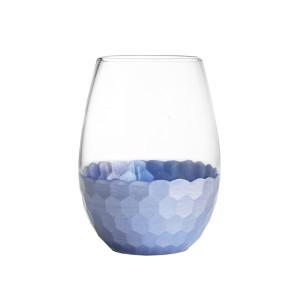 Fitz & Floyd Daphne Blue Set of 4 Stemless Glasses