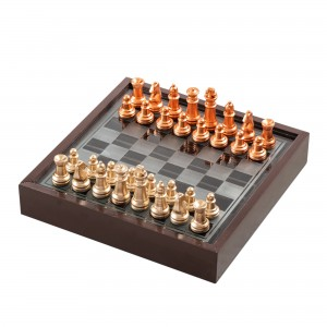 American Atelier Chess Game with Wooden Glass Case