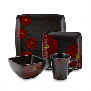 American Atelier Asiana Black-Red 16 Piece Dinnerware Set