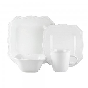 American Atelier 7220-16-RB Felicia White 16 Piece Square Dinnerware Set