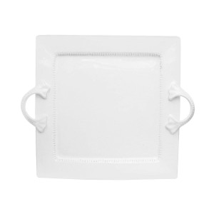 American Atelier Bianca Dash Square Platter with Handles, White