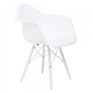 American Atelier White Arm Shell Chair with White Wood Legs