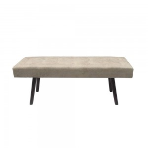 Design Guild 1240069 Faux Leather Bench with Wooden Legs - Gray