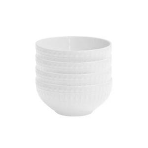 Elle Decor 6828-4BWL Amelie Kitchen Bowls, White