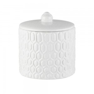 Elle Collection Embossed Ceramic Cotton Ball Jar with Lid - White