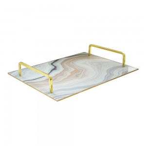 American Atelier 1330806 Rectangle Mirror Decorative Tray with Metal Handles - Gold