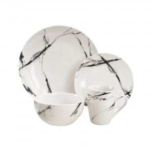American Atelier White Marble Coup 16 Piece Dinnerware Set