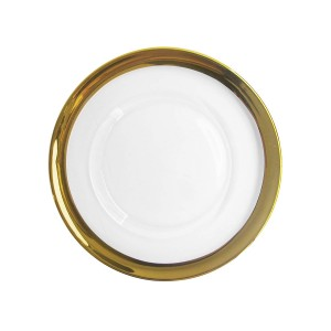 ChargeIt by Jay Belmont Glass Charger Plate, Gold Rim