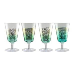 Fifth Avenue Crystal 229298-4TWN Soiree Wine Glasses, 3 x 3 x 8, Teal