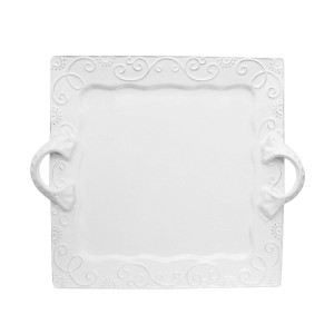 American Atelier Mina Square Platter with Handles, White