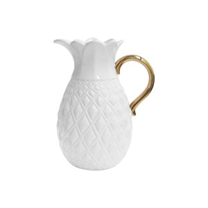American Atelier Pineapple Ceramic Pitcher, White/Gold