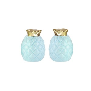 American Atelier 6889-SP-A Pineapple Salt & Pepper Shakers, 2 x 2.75, Blue/Gold