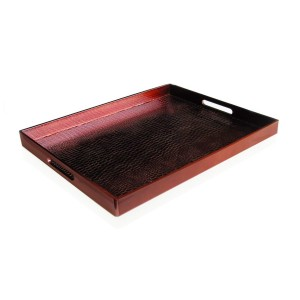 American Atelier Alligator Rectangle Tray, Red