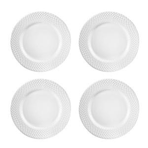 Elle Decor 6829-4D Bridgette Dinner Plates, White