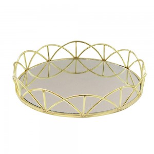 American Atelier Lace Electroplated Round Mirror Decorative Tray with Metal Rim - Gold