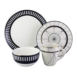 American Atelier Dinnerware Set – 16-Piece Stoneware Party Collection w/ 4 Dinner Salad Plates, 4 Bowls & 4 Mugs – Gift Idea for Any Occasion, Black, Compass