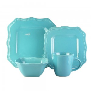 American Atelier 7221-16-RB Felicia Turquoise 16 Piece Square Dinnerware Set