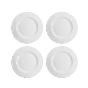 Elle Decor 6831-4S Juliette Salad Plates, White
