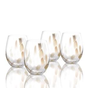"""Elle Decor 229511-4ST Celeste Set of 4 Stemless Wine Goblets, 18 oz., 3"""" x 3"""" x 4"""", White/Gold"""