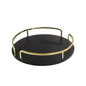American Atelier Croc Round Rail Tray, Black/Gold