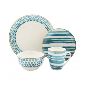 """Elle Collection 7293-16-RB Cherie Casual Round Dinnerware Set – 16-Piece Porcelain Party-4 Dinner & 4 Salad Plates, 4 Bowls, 4 Mugs – Gift for Special Occasion or Birthday, 10.5"""", White/Green"""