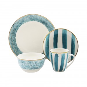 """Elle Collection 7294-16-RB Juilett Casual Round Dinnerware Set – 16-Piece Porcelain Party-4 Dinner & 4 Salad Plates, 4 Bowls, 4 Mugs – Gift for Special Occasion or Birthday, 10.5"""", White/Green"""