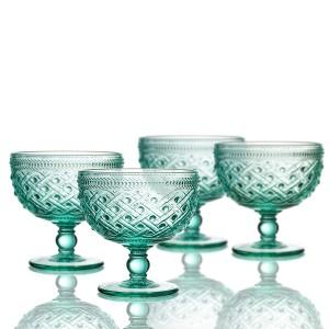 "Elle Decor 229807-4PBGR Bistro Ikat Pedestal Bowls, 4.3"" x 4.3"", Green"