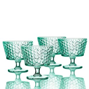 "Elle Decor 229803-4PBGR Bistro Weave Pedestal Bowls (Set of 4), 4.3"" x 4.3"", Green"
