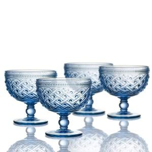 """Elle Decor 229807-4PBBL Bistro Ikat Pedestal Bowls, 4.3"""" x 4.3"""", Blue"""
